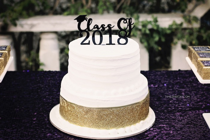 Graduation Cake from a Sparkle & Shine Graduation Party on Kara's Party Ideas | KarasPartyIdeas.com (16)