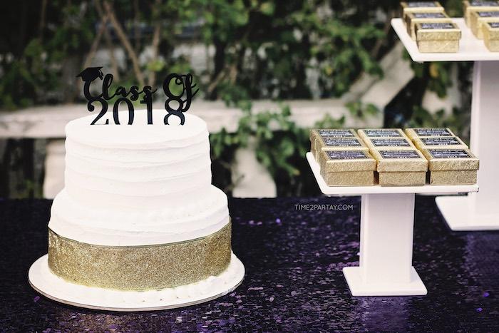 Grad Themed Cake Table from a Sparkle & Shine Graduation Party on Kara's Party Ideas | KarasPartyIdeas.com (14)
