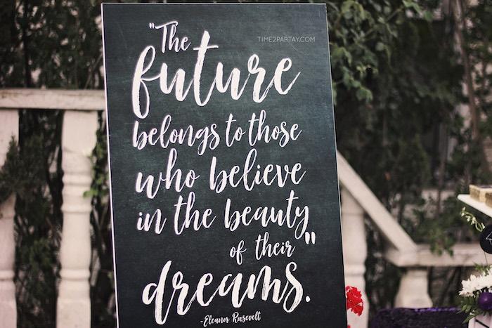 Chalkboard - Future + Dreams Sign from a Sparkle & Shine Graduation Party on Kara's Party Ideas | KarasPartyIdeas.com (13)