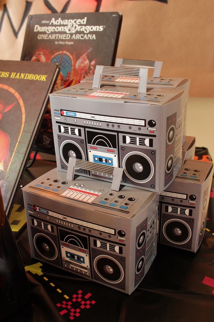 Stranger Things Boom Box Favor Boxes from a Stranger Things Halloween Party on Kara's Party Ideas | KarasPartyIdeas.com