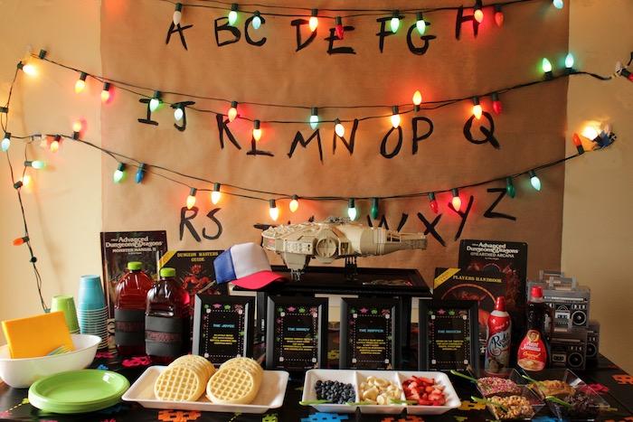 Stranger Things Party Table on Kara's Party Ideas | KarasPartyIdeas.com