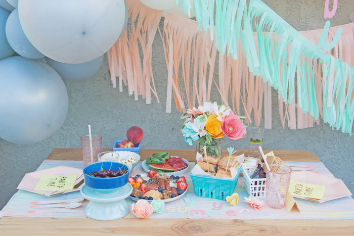 Summer Picnic Table from a Summer Vibes Picnic Party on Kara's Party Ideas | KarasPartyIdeas.com (17)