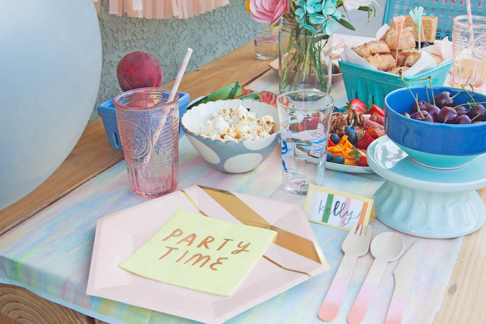 Pink Ombre Table Setting from a Summer Vibes Picnic Party on Kara's Party Ideas | KarasPartyIdeas.com (16)
