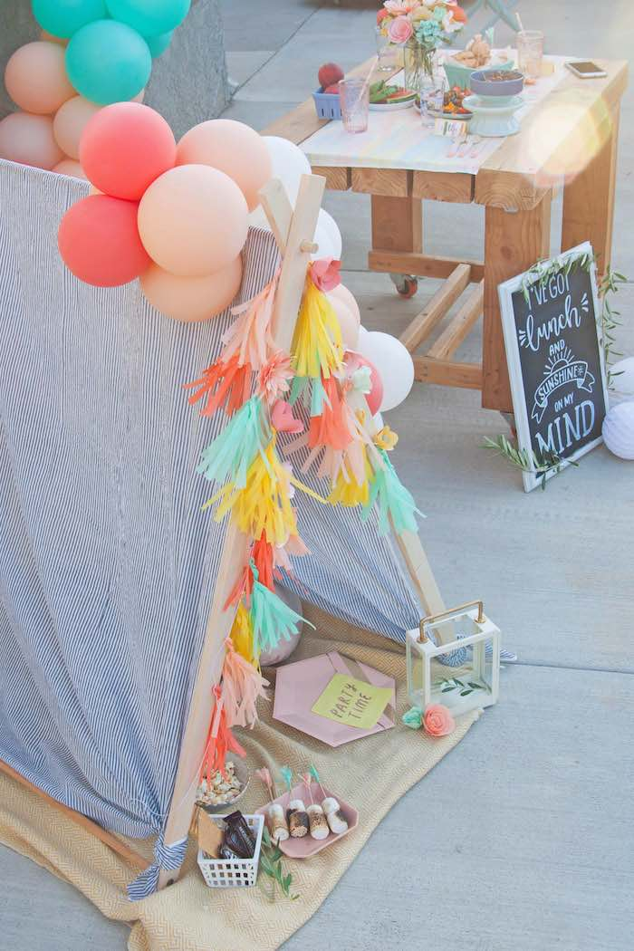 Picnic Tent + Bunting from a Summer Vibes Picnic Party on Kara's Party Ideas | KarasPartyIdeas.com (14)