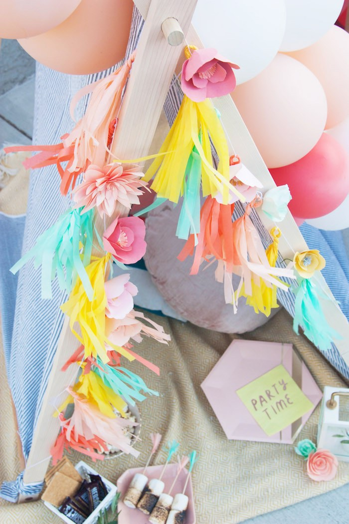Floral Tassel Garland from a Summer Vibes Picnic Party on Kara's Party Ideas | KarasPartyIdeas.com (12)