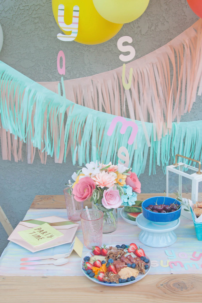 Pastel Table Setting from a Summer Vibes Picnic Party on Kara's Party Ideas | KarasPartyIdeas.com (26)