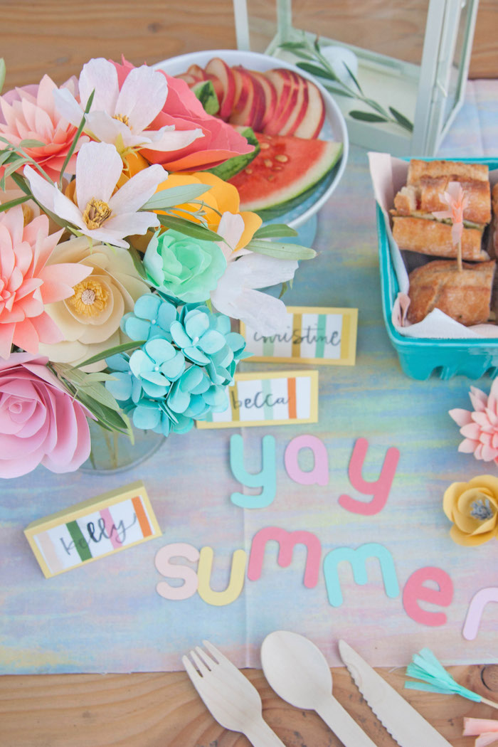Yay Summer Picnic Table from a Summer Vibes Picnic Party on Kara's Party Ideas | KarasPartyIdeas.com (5)