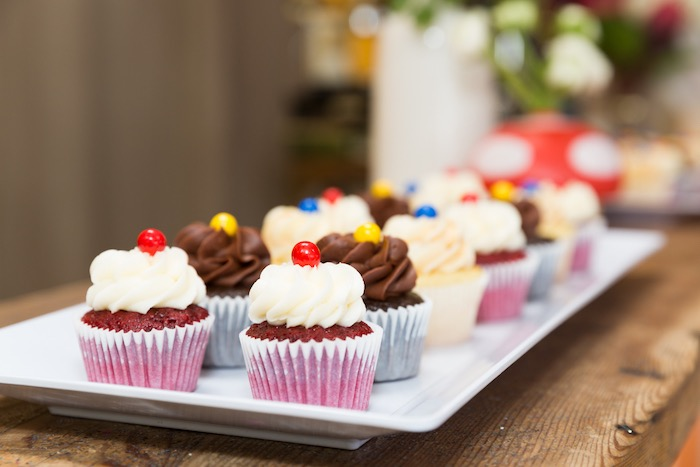 Mario-inspired Cupcakes from a Super Mario Birthday Party on Kara's Party Ideas | KarasPartyIdeas.com (8)
