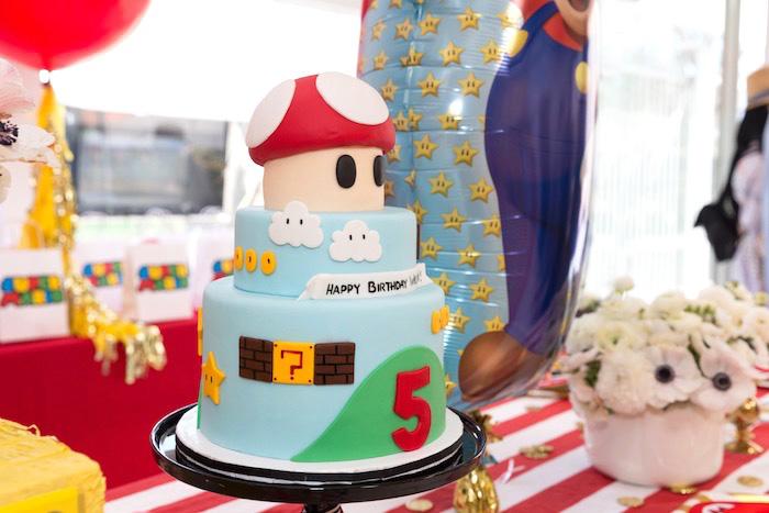 Super Mario Bros. Cake from a Super Mario Birthday Party on Kara's Party Ideas | KarasPartyIdeas.com (6)