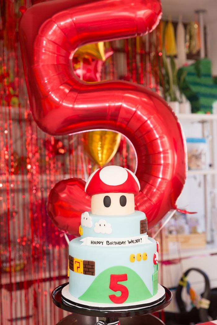 Super Mario Cake from a Super Mario Birthday Party on Kara's Party Ideas | KarasPartyIdeas.com (3)