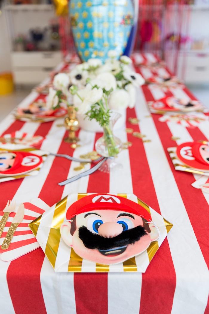 Mario-inspired Table Setting from a Super Mario Birthday Party on Kara's Party Ideas | KarasPartyIdeas.com (16)