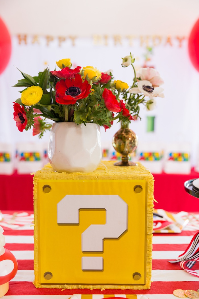 Question Block Pedestal from a Super Mario Birthday Party on Kara's Party Ideas | KarasPartyIdeas.com (15)