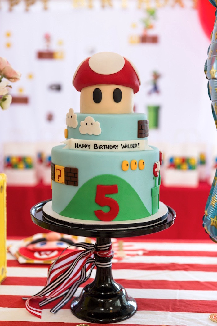 Super Mario Bros. Cake from a Super Mario Birthday Party on Kara's Party Ideas | KarasPartyIdeas.com (14)