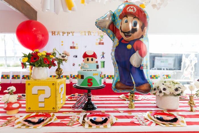 Super Mario Party Table from a Super Mario Birthday Party on Kara's Party Ideas | KarasPartyIdeas.com (13)
