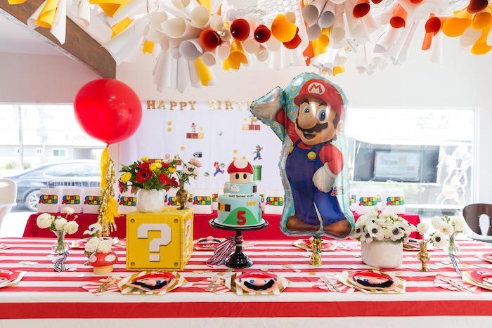 Super Mario Party Table from a Super Mario Birthday Party on Kara's Party Ideas | KarasPartyIdeas.com (12)
