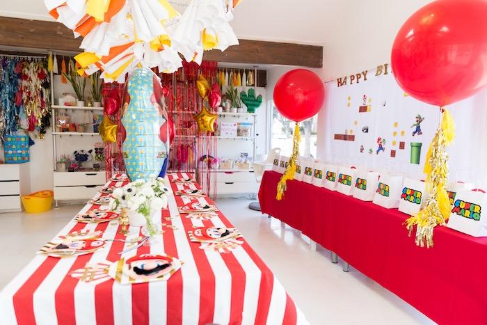 Super Mario Party Tables from a Super Mario Birthday Party on Kara's Party Ideas | KarasPartyIdeas.com (11)