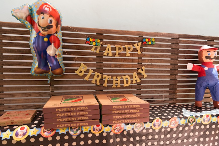 Super Mario Food Table from a Super Mario Birthday Party on Kara's Party Ideas | KarasPartyIdeas.com (9)
