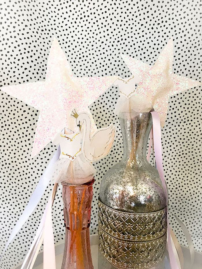 Shimmery Star Tassel Wands from a Swan Lake Birthday Soiree on Kara's Party Ideas | KarasPartyIdeas.com (21)