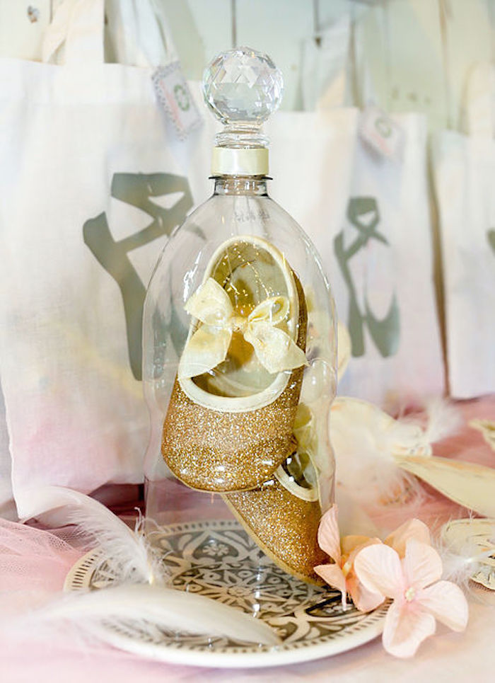 Domed - Gold Glitter Slippers from a Swan Lake Birthday Soiree on Kara's Party Ideas | KarasPartyIdeas.com (19)