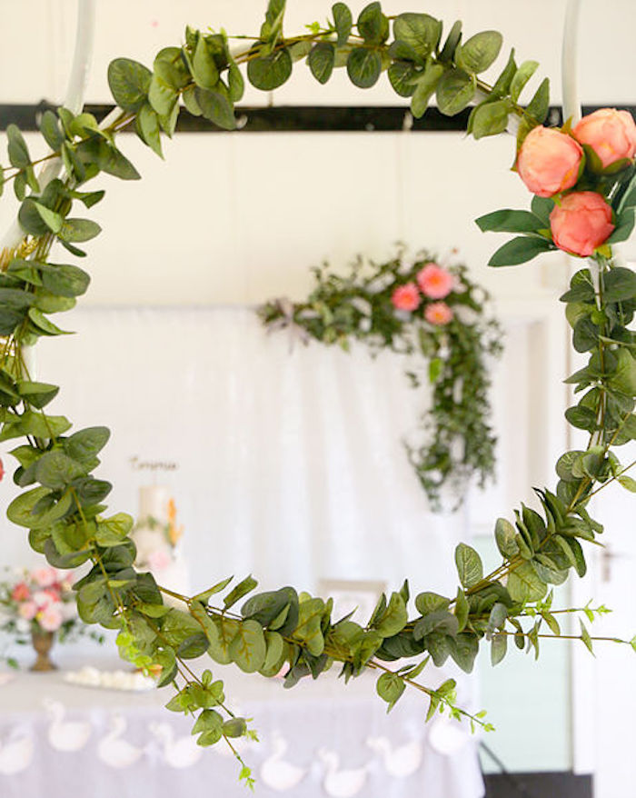 Green Wreath from a Swan Lake Birthday Soiree on Kara's Party Ideas | KarasPartyIdeas.com (13)