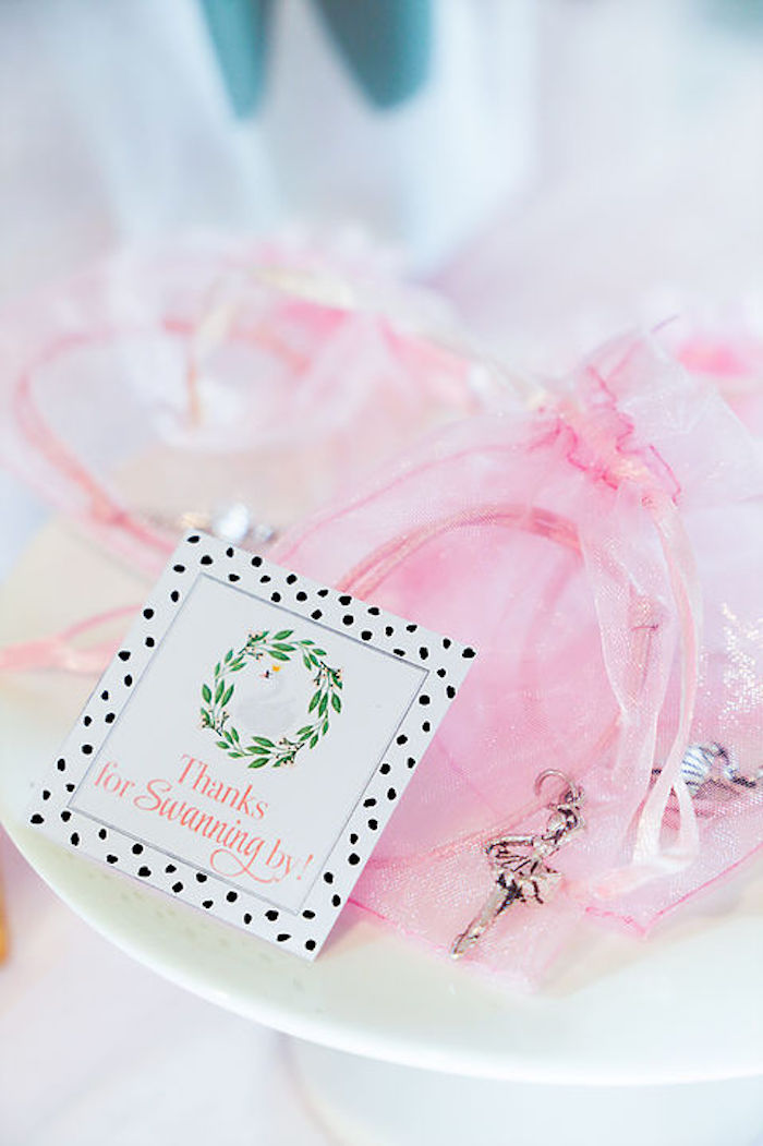 Thanks for Swanning By - Ballerina Bracelet Favors from a Swan Lake Birthday Soiree on Kara's Party Ideas | KarasPartyIdeas.com (10)