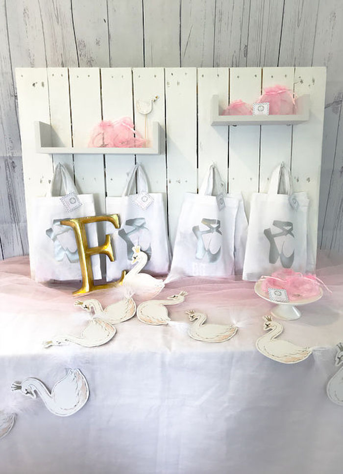 Swan Themed Favor Table from a Swan Lake Birthday Soiree on Kara's Party Ideas | KarasPartyIdeas.com (7)