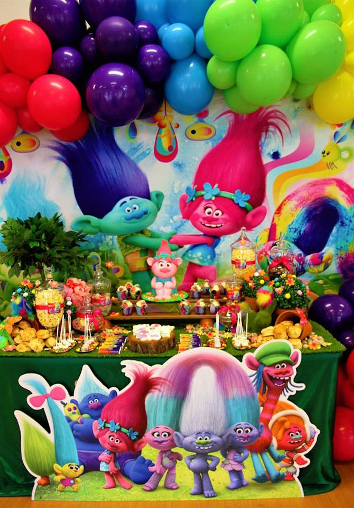 Trolls Themed Dessert Table from a Trolls Birthday Party on Kara's Party Ideas | KarasPartyIdeas.com (9)