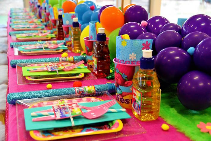 Colorful Table Settings + Tablescape from a Trolls Birthday Party on Kara's Party Ideas | KarasPartyIdeas.com (5)
