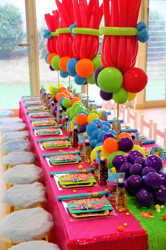 Trolls Party Tablescape from a Trolls Birthday Party on Kara's Party Ideas | KarasPartyIdeas.com (4)