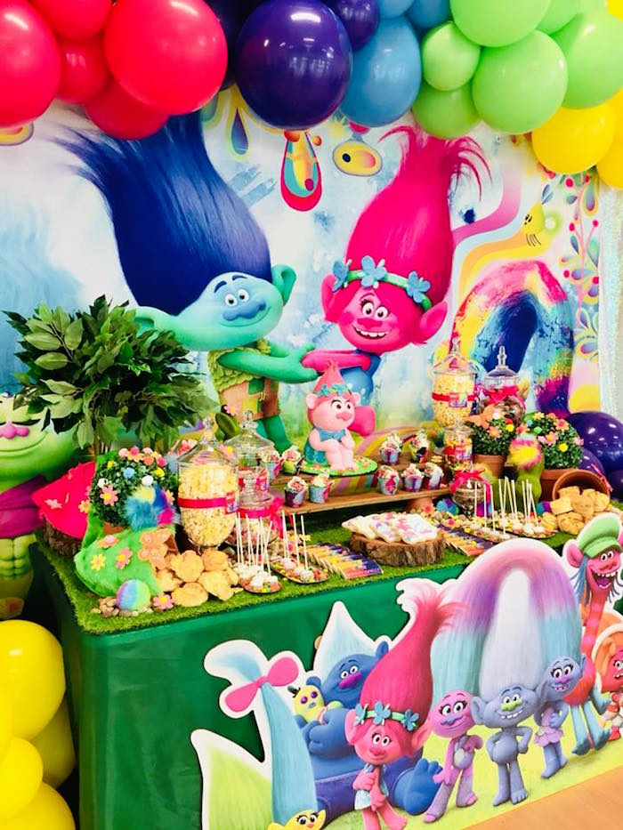 Trolls Party Table from a Trolls Birthday Party on Kara's Party Ideas | KarasPartyIdeas.com (3)