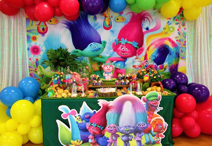 Trolls Party Table from a Trolls Birthday Party on Kara's Party Ideas | KarasPartyIdeas.com (13)