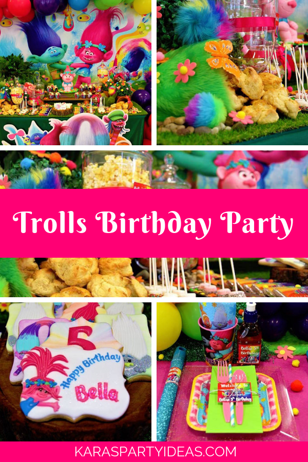 Trolls Birthday Party via Kara's Party Ideas - KarasPartyIdeas.com