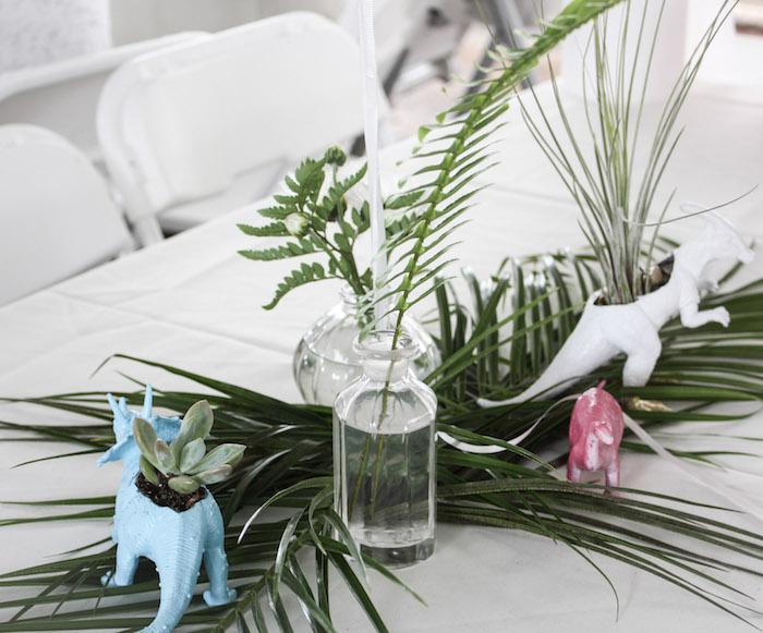 Tropical Dinosaur Table Centerpieces + Decor from a Tropical Dino-mite Birthday Party on Kara's Party Ideas | KarasPartyIdeas.com (16)