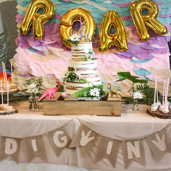 Dinosaur Dessert Table from a Tropical Dino-mite Birthday Party on Kara's Party Ideas | KarasPartyIdeas.com (15)