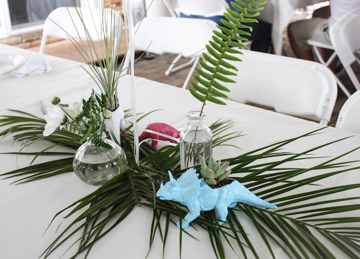 Tropical Dinosaur Table Centerpiece from a Tropical Dino-mite Birthday Party on Kara's Party Ideas | KarasPartyIdeas.com (12)