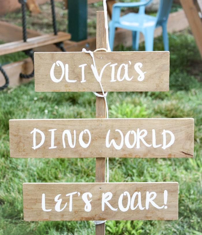 Dino World Party Sign from a Tropical Dino-mite Birthday Party on Kara's Party Ideas | KarasPartyIdeas.com (10)