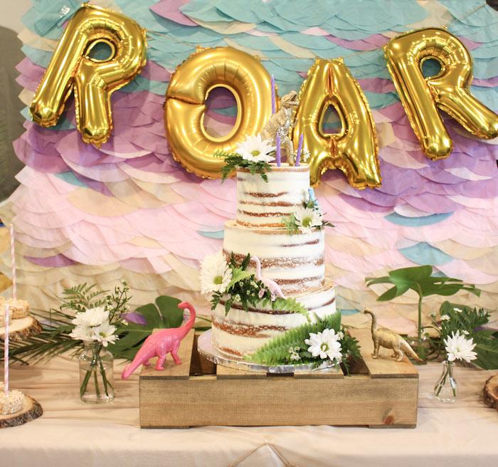 Tropical Dino-mite Birthday Party Table on Kara's Party Ideas | KarasPartyIdeas.com (26)