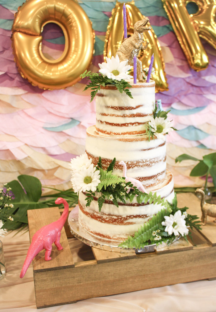 Dinosaur-inspired Naked Cake from a Tropical Dino-mite Birthday Party on Kara's Party Ideas | KarasPartyIdeas.com (25)