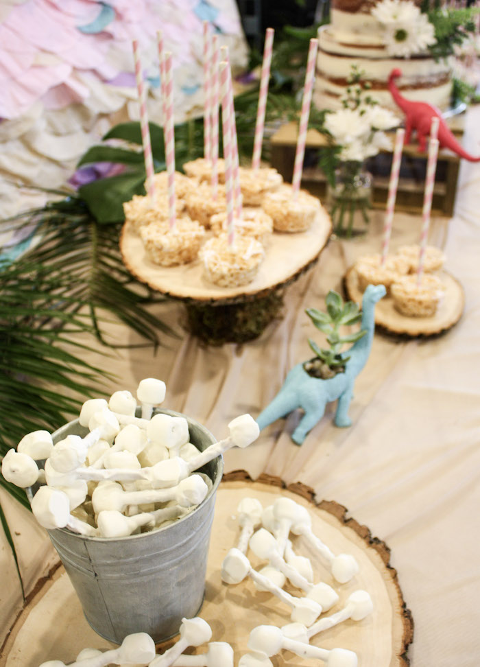 Dinosaur Dessert Tablescape from a Tropical Dino-mite Birthday Party on Kara's Party Ideas | KarasPartyIdeas.com (23)