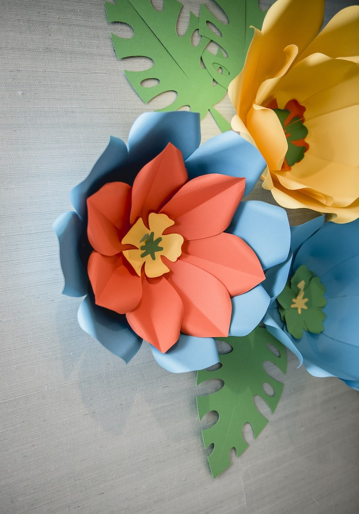 Tropical Paper Flower from a Tropical Luau Birthday Party on Kara's Party Ideas | KarasPartyIdeas.com (25)