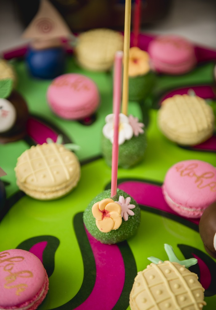 Moana-inspired Cake Pops + Tropical Macarons from a Tropical Luau Birthday Party on Kara's Party Ideas | KarasPartyIdeas.com (22)