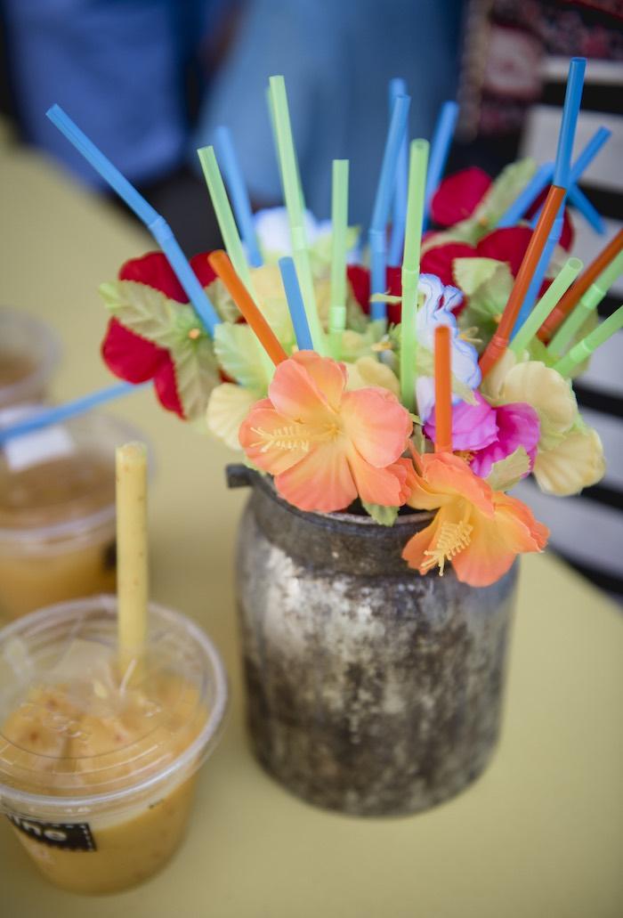 Tropical Flower Straws from a Tropical Luau Birthday Party on Kara's Party Ideas | KarasPartyIdeas.com (20)