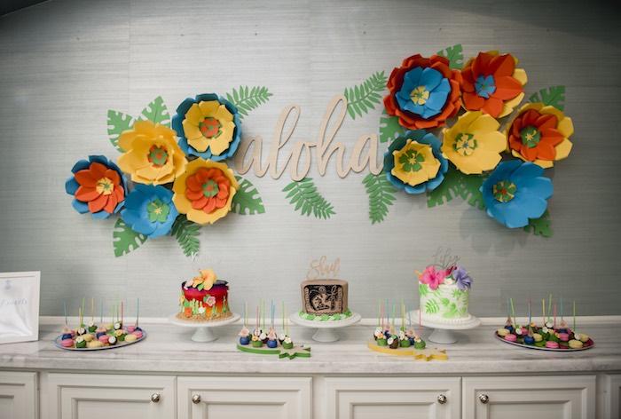 Aloha Dessert Table from a Tropical Luau Birthday Party on Kara's Party Ideas | KarasPartyIdeas.com (17)