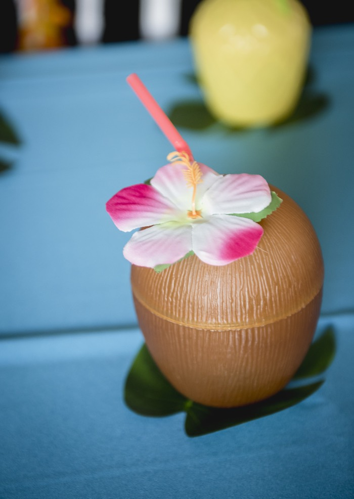 Plastic Coconut Cup from a Tropical Luau Birthday Party on Kara's Party Ideas | KarasPartyIdeas.com (34)