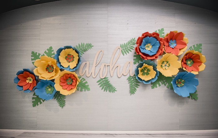 Tropical Paper Flower - Aloha Backdrop from a Tropical Luau Birthday Party on Kara's Party Ideas | KarasPartyIdeas.com (27)