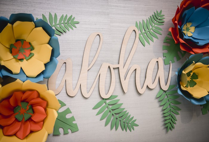 Tropical Paper Flower - Aloha Backdrop from a Tropical Luau Birthday Party on Kara's Party Ideas | KarasPartyIdeas.com (26)