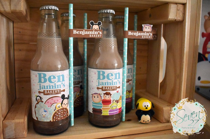Tsum Tsum Drink Bottles from a Tsum Tsum Bakery Birthday Party on Kara's Party Ideas | KarasPartyIdeas.com (22)