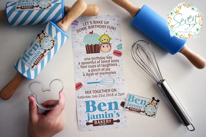 Tsum Tsum Baking Party Invite from a Tsum Tsum Bakery Birthday Party on Kara's Party Ideas | KarasPartyIdeas.com (31)