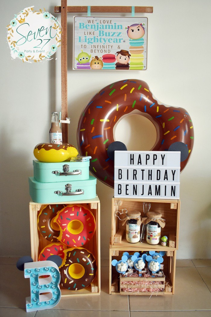 Happy Birthday Doughnut Display from a Tsum Tsum Bakery Birthday Party on Kara's Party Ideas | KarasPartyIdeas.com (12)