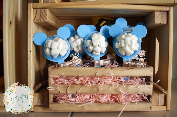 Mini Mouse Container Pops filled with Marshmallows from a Tsum Tsum Bakery Birthday Party on Kara's Party Ideas | KarasPartyIdeas.com (8)